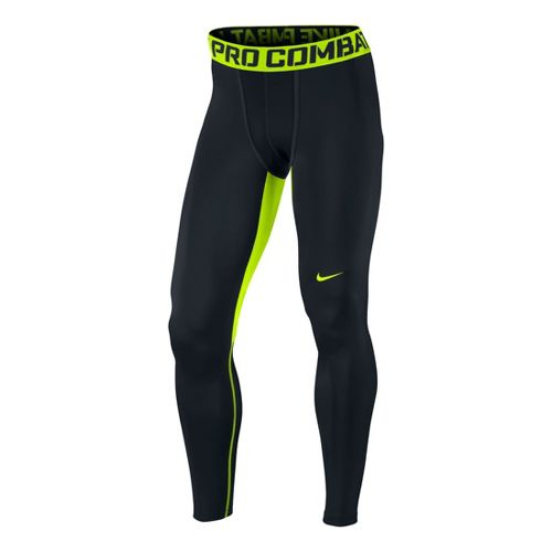 Mens Nike Hyperwarm DF Max Comp Fitted Tights - Black/Volt S