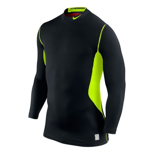 Mens Nike Hyperwarm DF Max Fitted Mock Long Sleeve No Zip Technical Tops - Black/Volt ...