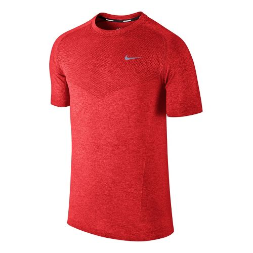Mens Nike Dri-Fit Knit Short Sleeve Technical Tops - Crimson M