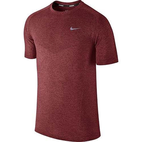 Mens Nike Dri-Fit Knit Short Sleeve Technical Tops - Dark Red L