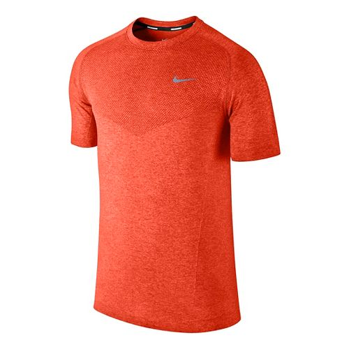 Mens Nike Dri-Fit Knit Short Sleeve Technical Tops - Orange L