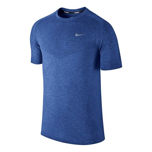 Mens Nike Dri-Fit Knit Short Sleeve Technical Tops - Royal L