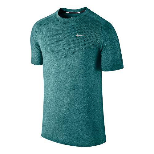 Mens Nike Dri-Fit Knit Short Sleeve Technical Tops - Sea Green M