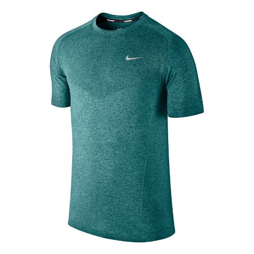 Mens Nike Dri-Fit Knit Short Sleeve Technical Tops - Sea Green S