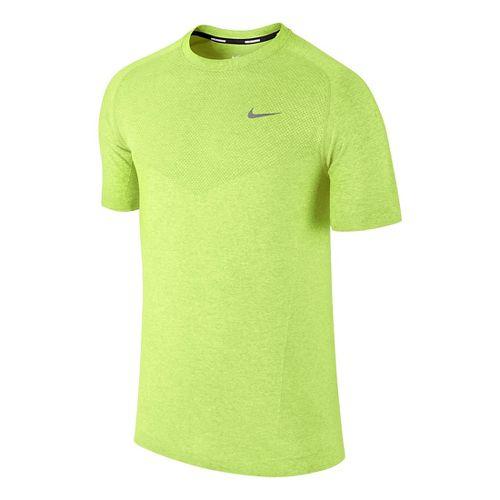 Mens Nike Dri-Fit Knit Short Sleeve Technical Tops - Volt L