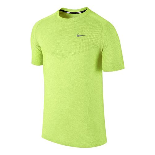 Mens Nike Dri-Fit Knit Short Sleeve Technical Tops - Volt S
