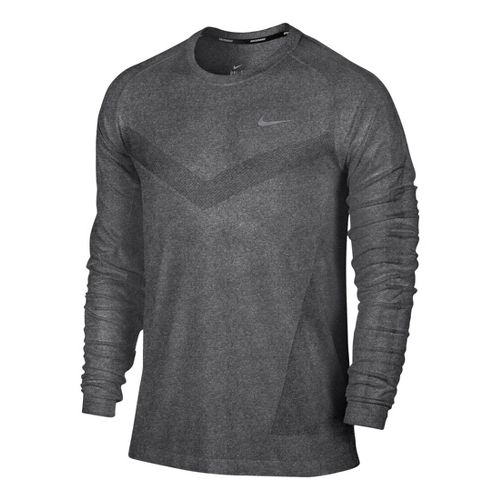 Mens Nike Dri-Fit Knit Long Sleeve No Zip Technical Tops - Black/Heather XL