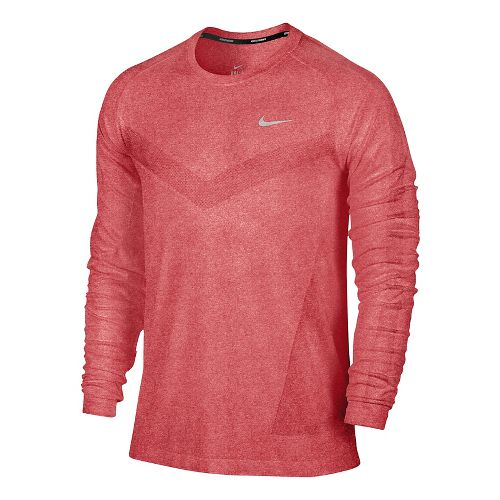 Mens Nike Dri-Fit Knit Long Sleeve No Zip Technical Tops - Formula Red/Heather S