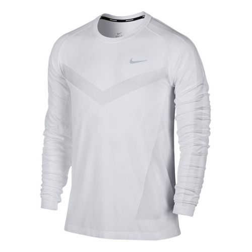 Mens Nike Dri-Fit Knit Long Sleeve No Zip Technical Tops - Light Grey L