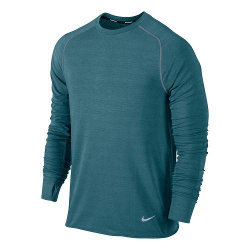 Mens Nike Feather Fleece Crew Long Sleeve No Zip Technical Tops - Atomic Teal S ...