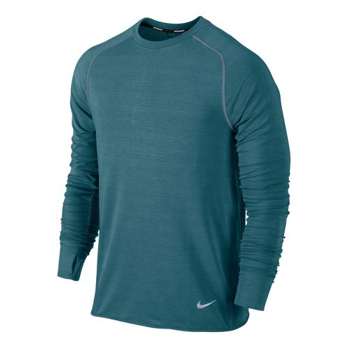 Mens Nike Feather Fleece Crew Long Sleeve No Zip Technical Tops - Atomic Teal XL ...