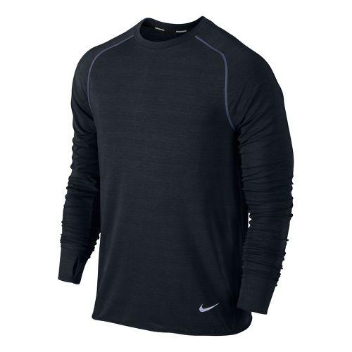Mens Nike Feather Fleece Crew Long Sleeve No Zip Technical Tops - Black L