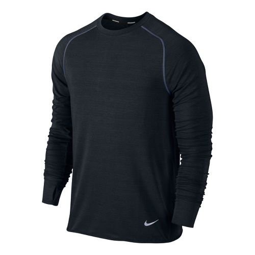 Mens Nike Feather Fleece Crew Long Sleeve No Zip Technical Tops - Black S