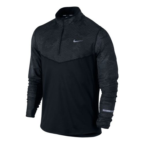 Mens Nike Element Reflective Long Sleeve 1/2 Zip Technical Tops - Black L