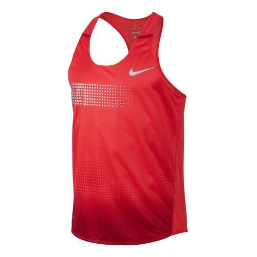 Mens Nike Distance Singlet Technical Tops - Crimson L