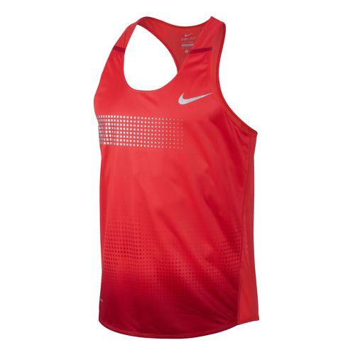 Mens Nike Distance Singlet Technical Tops - Crimson S