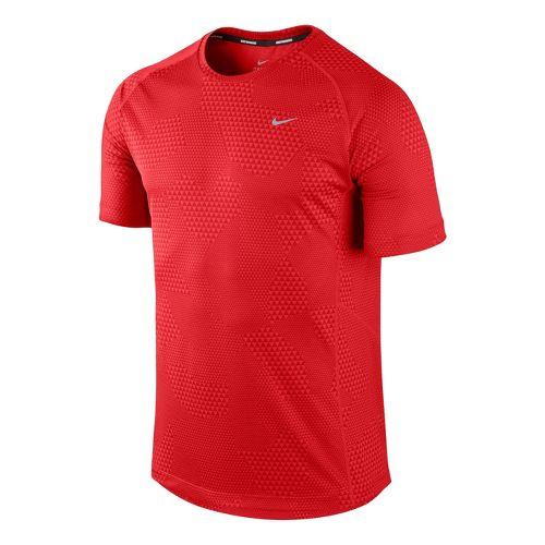 Mens Nike Printed Miler Short Sleeve Technical Tops - Crimson XL