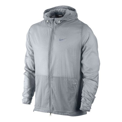 Mens Nike Printed Hurricane Running Jackets - Light Grey L
