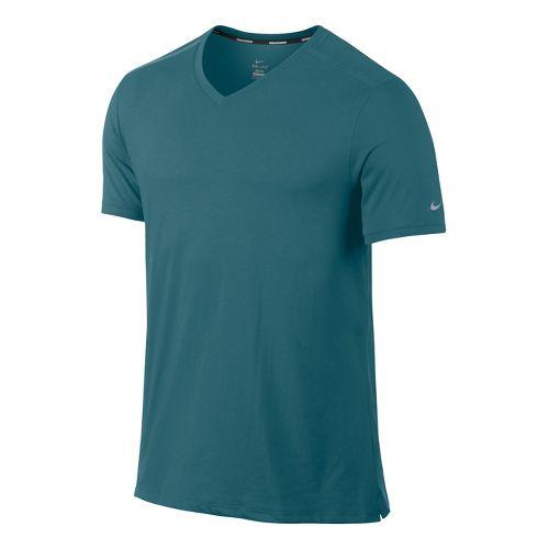 Mens Nike Tailwind V Neck Short Sleeve Technical Tops - Atomic Teal M