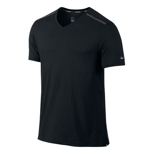 Mens Nike Tailwind V Neck Short Sleeve Technical Tops - Black M