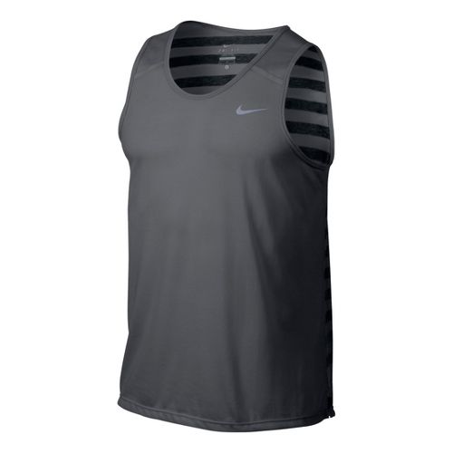 Mens Nike DF Touch Tailwind Tank Technical Tops - Light Grey S