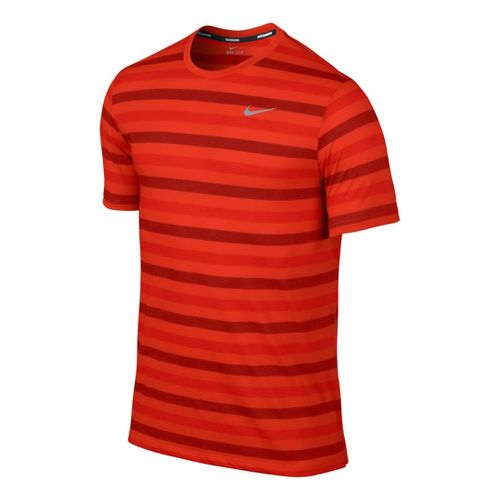 Mens Nike DF Touch Tailwind Striped Short Sleeve Technical Tops - Crimson L