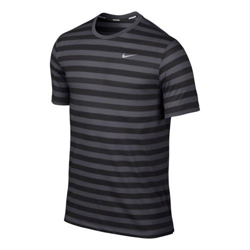 Mens Nike DF Touch Tailwind Striped Short Sleeve Technical Tops - Dark Grey M