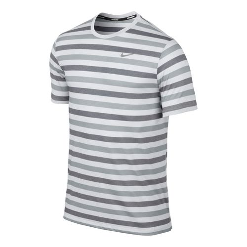 Mens Nike DF Touch Tailwind Striped Short Sleeve Technical Tops - Light Grey L