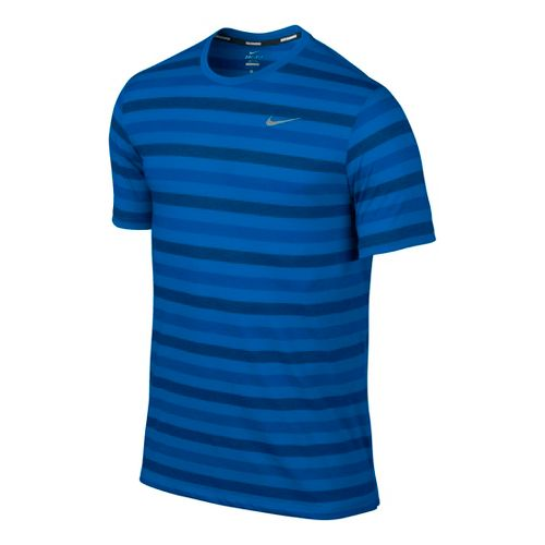 Mens Nike DF Touch Tailwind Striped Short Sleeve Technical Tops - Laser Blue L