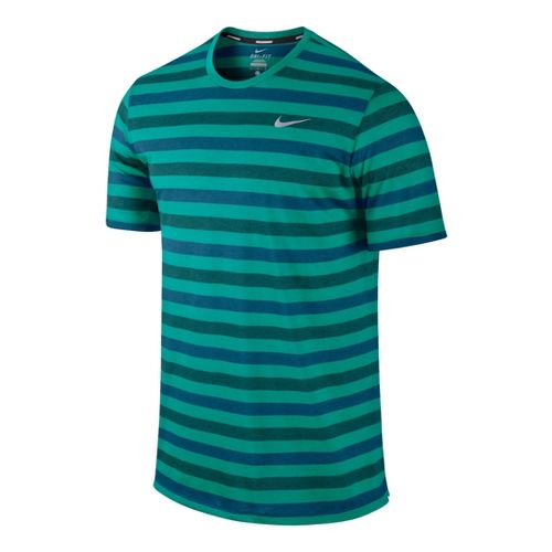 Mens Nike DF Touch Tailwind Striped Short Sleeve Technical Tops - Sea Green L