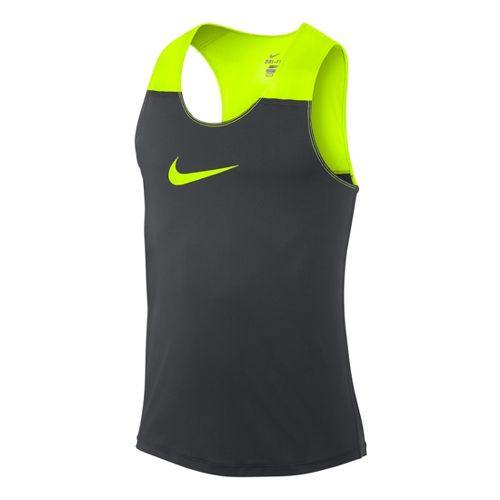 Mens Nike Dri-Fit Racing Tank Technical Tops - Dark Grey/Electra L