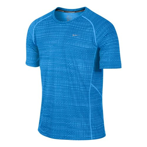 Mens Nike Printed Miler Short Sleeve Technical Tops - Laser Blue L