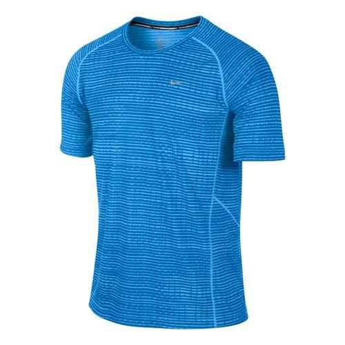 Mens Nike Printed Miler Short Sleeve Technical Tops - Laser Blue M
