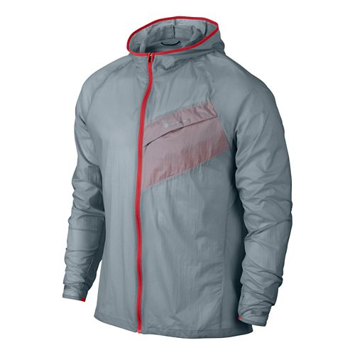 Mens Nike Impossibly Light Running Jackets - Grey/Daring Red L