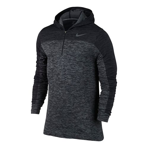 Mens Nike Dri-Fit Knit Long Sleeve 1/2 Zip Technical Tops - Black/Heather L