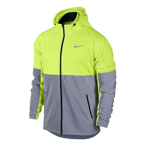Mens Nike Shield Flash Running Jackets - Silver/Volt XL