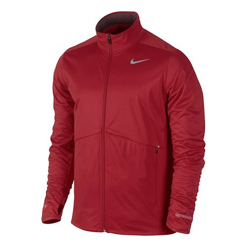 Mens Nike Element Shield Full Zip Running Jackets - Formula Red S