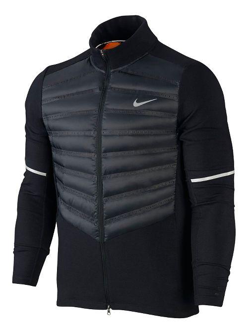 Mens Nike Aeroloft Hybrid Running Jackets - Black M