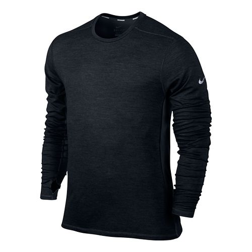 Mens Nike Dri-Fit Wool Crew Long Sleeve No Zip Technical Tops - Black L