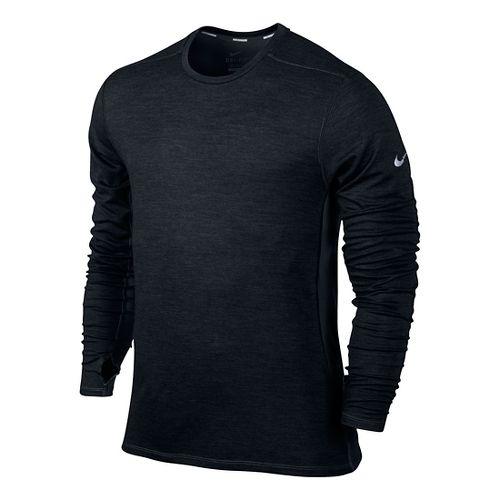 Mens Nike Dri-Fit Wool Crew Long Sleeve No Zip Technical Tops - Black S