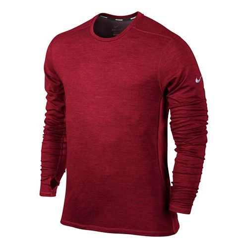 Mens Nike Dri-Fit Wool Crew Long Sleeve No Zip Technical Tops - Burgundy L