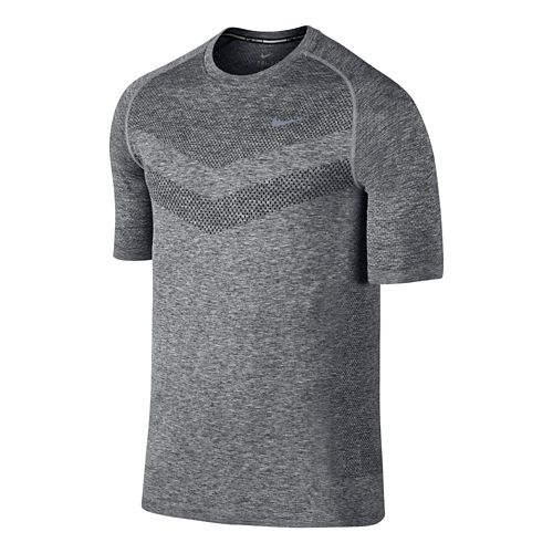 Mens Nike Dri-Fit Knit Short Sleeve Technical Top - Dark Grey M