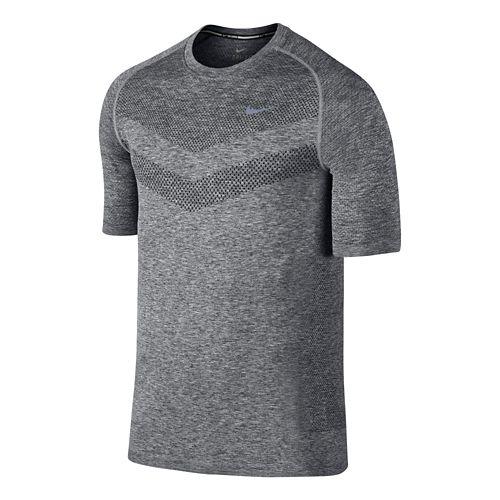 Mens Nike Dri-Fit Knit Short Sleeve Technical Top - Dark Grey XL