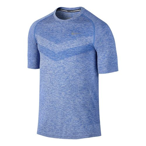 Mens Nike Dri-Fit Knit Short Sleeve Technical Top - Game Royal/Heather M
