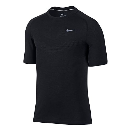 Mens Nike Dri-Fit Knit Short Sleeve Technical Top - Black/Heather M