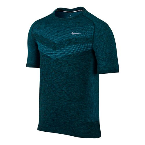 Mens Nike Dri-Fit Knit Short Sleeve Technical Top - Lake Blue XL