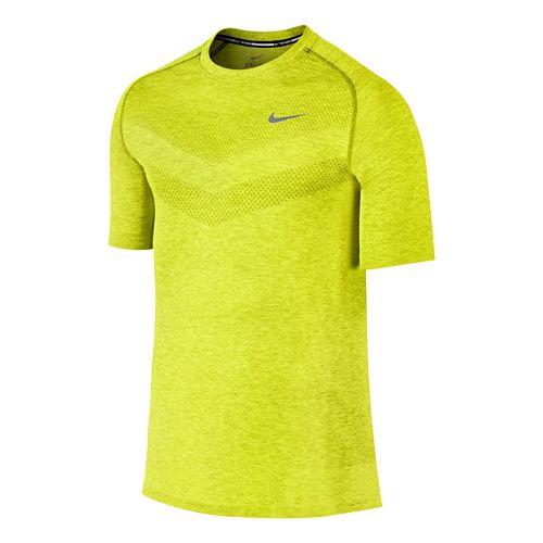 Mens Nike Dri-Fit Knit Short Sleeve Technical Top - Volt M