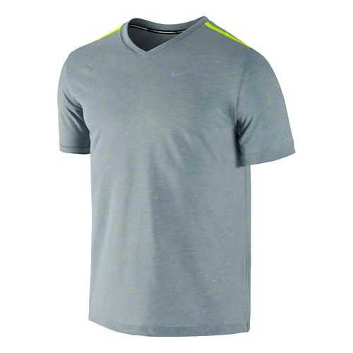 Mens Nike DF Neon Slub Short Sleeve Technical Tops - Grey XL