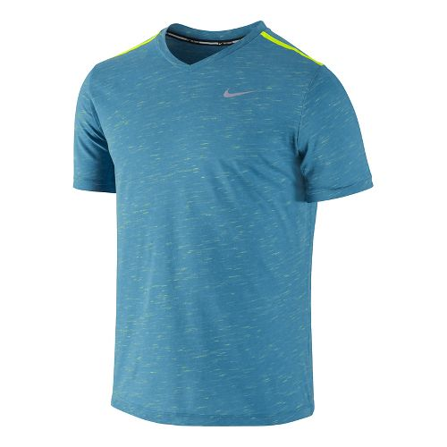 Mens Nike DF Neon Slub Short Sleeve Technical Tops - Liquid Blue XL