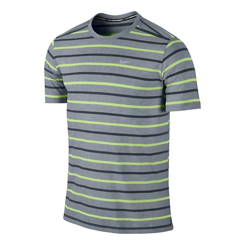 Mens Nike Tailwind Stripe Crew Short Sleeve Technical Tops - Grey/Volt L